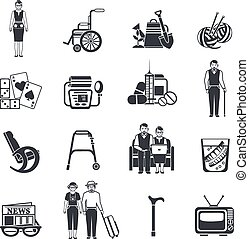 Pensioners Life Black White Icons Set