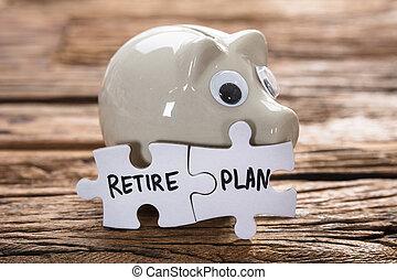 pensionieren, puzzlespielstücke, piggybank, verbunden, plan