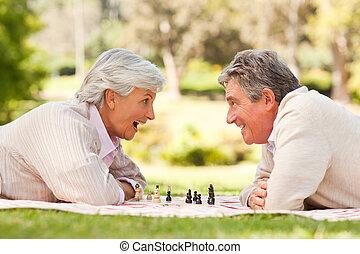 pensioniertes ehepaar, spielenden schach