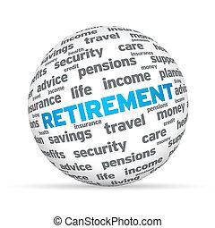 pensionierung, 3d, kugelförmig