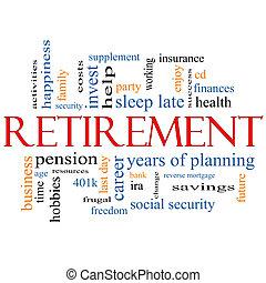 pensionierung, begriff, wort, wolke