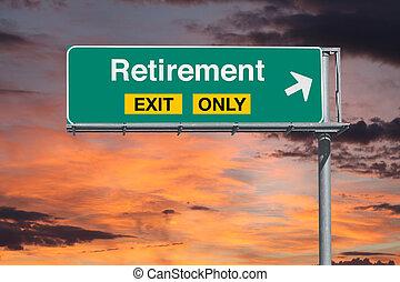 pensionierung, himmelsgewölbe, zeichen, autobahn, nur, ausgang, sonnenaufgang