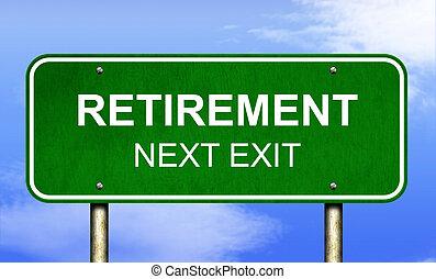 pensionierung, landstraße zeichen