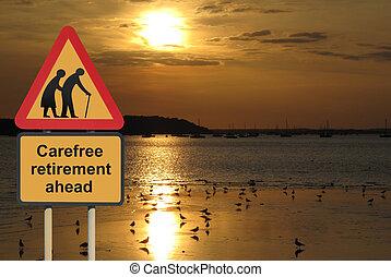pensionierung, sorgenfrei, straße zeichen