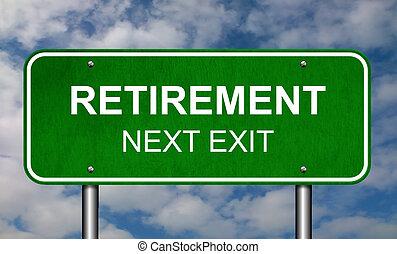 pensionierung, straße zeichen
