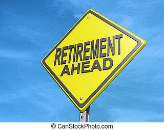 pensionierung, voraus, ergebnis- zeichen