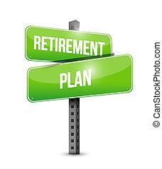 pensionierung, zeichen., abbildung, vektor, design, plan