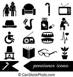 pensionista, jubilado, tema, conjunto, de, iconos, eps10