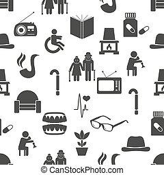 pensionista, jubilado, tema, conjunto, de, iconos, seamless,...