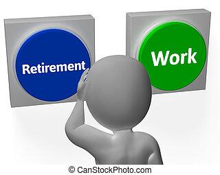 pensionista, retiro, exposición, trabajo, botones, empleo, o