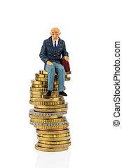 pensionistas, dinheiro, pilha, sentando