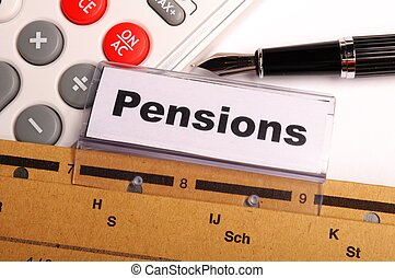 pensions - pension pension or retirement concept with word ...