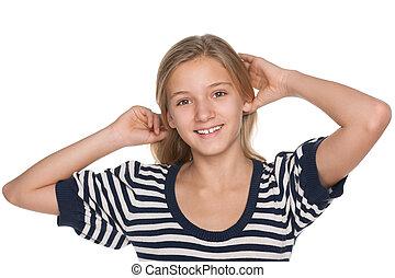 Pensive adorable teen girl