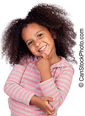 Pensive african little girl with beautiful hairstyle...