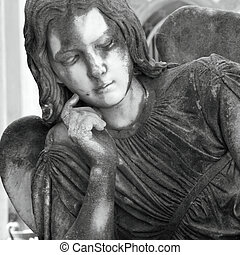 pensive angel figure - pensive angel cemetery sculpture, ...