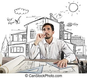 Pensive architect - Architect thinks how to design a house