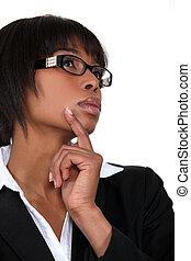 Pensive black businesswoman