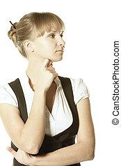 Pensive blonde businesswoman