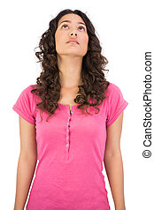 Pensive brown haired woman posing