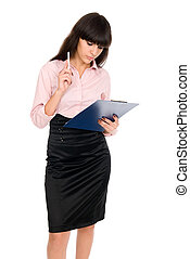 pensive business woman with a clipboard in his hands