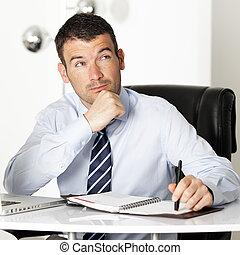 pensive businessman in office