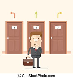 Pensive businessman or manager standing in front of the doors. Select a destination.  man in  business suit. Movement choise. Cartoon flat vector illustration in modern style.