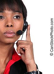 Pensive call-center worker