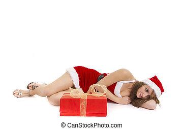 pensive christmas woman