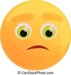 Pensive emoticon icon, cartoon style