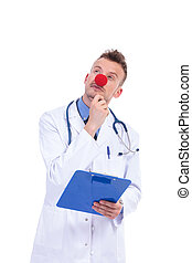 pensive fake clown doctor with red nose