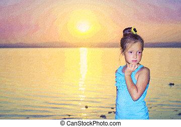 Pensive girl against a pink sunset over salt lake