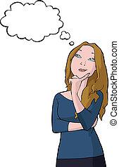Pensive girl on a white background vector illustration
