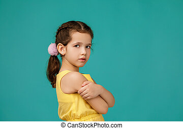 pensive girl stares intently at the camera - cute pensive ...