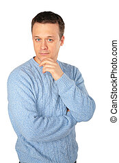 pensive man in blue sweater