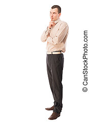 pensive man Portrait of a businessman on a white background