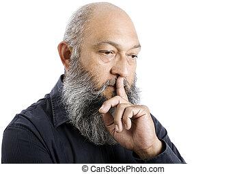 Stock image of senior man with long beard thinking, isolated on white.
