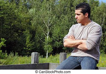 pensive, man., unge
