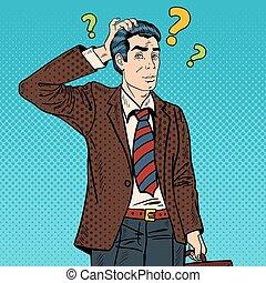 Pensive Pop Art Businessman Making Decision. Vector illustration