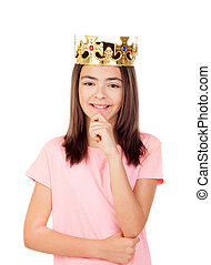 Pensive preteen girl with a crown