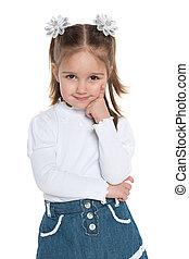 Pensive pretty preschool girl