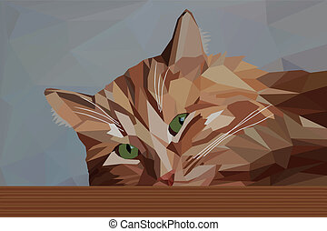 Pensive red cat in low poly style - Vector illustration