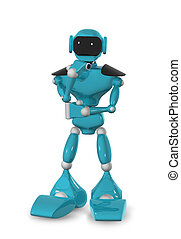pensive robot - 3d illustration of a blue robot on white...