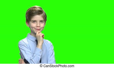 Pensive schoolboy portrait and free space for text. Green...