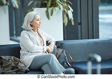 Pensive Senior Woman Portrait