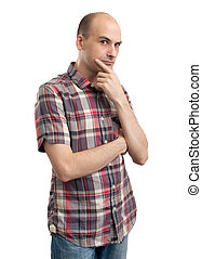 pensive serious man