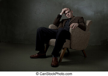 pensive serious professional man