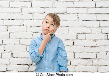 Pensive student thinking hard