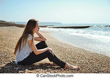 pensive teen girl