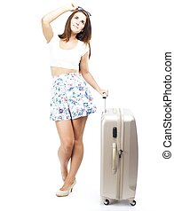 Pensive tourist woman with suitcase isolated