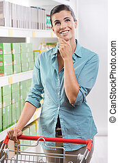 Pensive woman at store